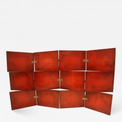 De Coene Vintage Red Lacquered Three Tier Screen by De Coene Freres - 663280