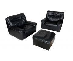 De Sede A Set Of Vintage Leather Sofa Lounge Chair And Ottoman By De Sede  Switzerland