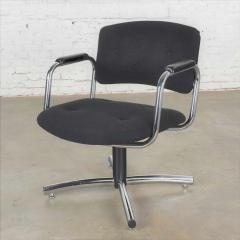 Delwood Furniture Co Vintage modern chrome black office armchair 4 prong base style steelcase - 1588654