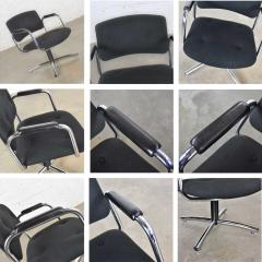 Delwood Furniture Co Vintage modern chrome black office armchair 4 prong base style steelcase - 1588656