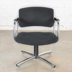 Delwood Furniture Co Vintage modern chrome black office armchair 4 prong base style steelcase - 1588657
