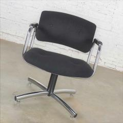 Delwood Furniture Co Vintage modern chrome black office armchair 4 prong base style steelcase - 1588661