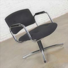Delwood Furniture Co Vintage modern chrome black office armchair 4 prong base style steelcase - 1588698