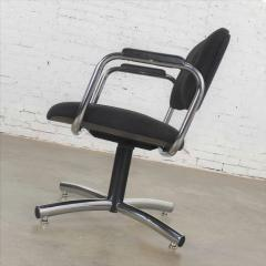 Delwood Furniture Co Vintage modern chrome black office armchair 4 prong base style steelcase - 1588699