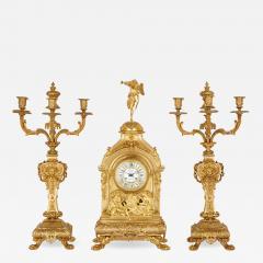 Deni re et Fils Antique Eclectic Style Gilt Bronze Clock Set by Henri Picard and Deni re et Fils - 1908334