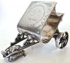 Derby Silver Company Turtle Pulling Cart Victorian Figural Napkin Ring Rare American Circa 1885 - 964871