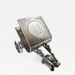 Derby Silver Company Turtle Pulling Cart Victorian Figural Napkin Ring Rare American Circa 1885 - 978908