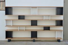 Design Fr res Black and White Horizontale Oak Shelving Unit - 1062079