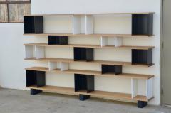 Design Fr res Black and White Horizontale Oak Shelving Unit - 1062080