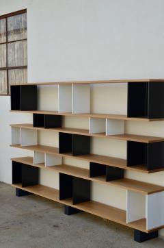 Design Fr res Black and White Horizontale Oak Shelving Unit - 1062081