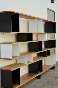 Design Fr res Black and White Horizontale Oak Shelving Unit - 1062083