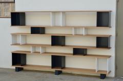 Design Fr res Black and White Horizontale Oak Shelving Unit - 1062084