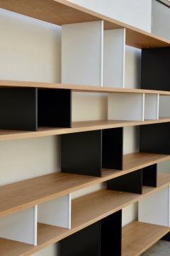 Design Fr res Black and White Horizontale Oak Shelving Unit - 1062085