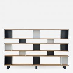 Design Fr res Black and White Horizontale Oak Shelving Unit - 1062211