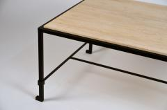 Design Fr res Chic Diagramme Wrought Iron and Travertine Coffee Table - 1086855