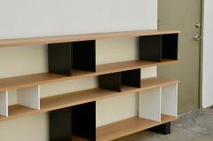 Design Fr res Low Black and White Horizontale Oak Shelving Unit - 923675