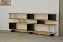 Design Fr res Low Black and White Horizontale Oak Shelving Unit - 923676