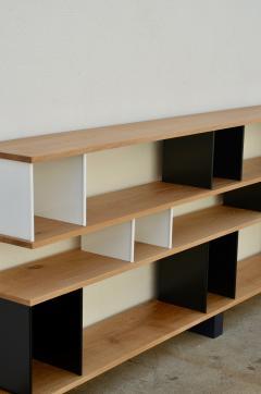 Design Fr res Low Black and White Horizontale Oak Shelving Unit - 923677