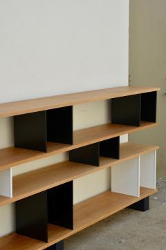 Design Fr res Low Black and White Horizontale Oak Shelving Unit - 923679