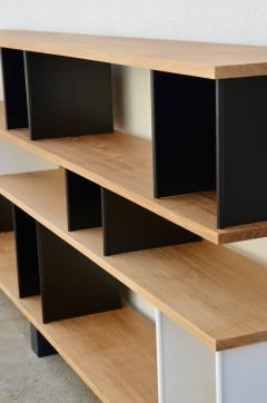 Design Fr res Low Black and White Horizontale Oak Shelving Unit - 923680
