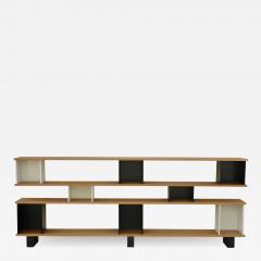 Design Fr res Low Black and White Horizontale Oak Shelving Unit - 924915