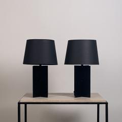Design Fr res Pair of Blackened Steel and Black Paper Cuatrolados Lamps by Design Fr res - 1377863