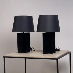 Design Fr res Pair of Blackened Steel and Black Paper Cuatrolados Lamps by Design Fr res - 1377874