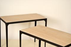 Design Fr res Pair of Chic Esquisse Grooved Ivory Travertine Side Tables by Design Fr res - 1335398