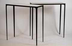 Design Fr res Pair of Chic Esquisse Wrought Iron and Parchment Consoles by Design Fr res - 1135494