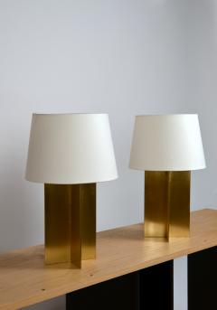 Design Fr res Pair of Chic Polished Brass and Parchment Paper Table Lamps - 1136972