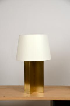Design Fr res Pair of Chic Polished Brass and Parchment Paper Table Lamps - 1136974