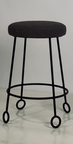 Design Fr res Pair of Chic Wrought Iron and Boucle Counter Stools - 1667152