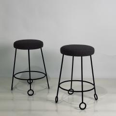 Design Fr res Pair of Chic Wrought Iron and Boucle Counter Stools - 1667155