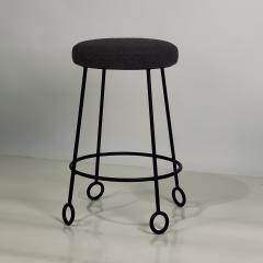 Design Fr res Pair of Chic Wrought Iron and Boucle Counter Stools - 1667156