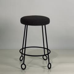 Design Fr res Pair of Chic Wrought Iron and Boucle Counter Stools - 1667158