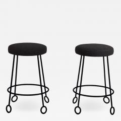 Design Fr res Pair of Chic Wrought Iron and Boucle Counter Stools - 1667192