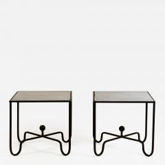 Design Fr res Pair of Entretoise Wrought Iron and Honed Marble Side Tables by Design Fr res - 1112638