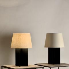 Design Fr res Pair of Large Cuatrolados Blackened Steel Lamps with Custom Parchment Shades - 1544751