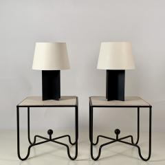 Design Fr res Pair of Large Cuatrolados Blackened Steel Lamps with Custom Parchment Shades - 1544754