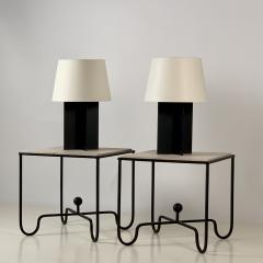 Design Fr res Pair of Large Cuatrolados Blackened Steel Lamps with Custom Parchment Shades - 1544755