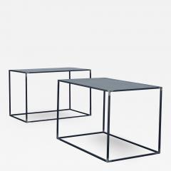 Design Fr res Pair of Large Minimalist Filiforme Patinated Steel End Tables by Design Fr res - 1412273