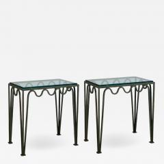 Design Fr res Pair of M andre Verdigris and Glass Night Stands by Design Fr res - 1732538