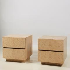 Design Fr res Pair of Minimalist Amboine Burl Wood Nightstands by Design Fr res - 1541959