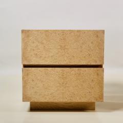 Design Fr res Pair of Minimalist Amboine Burl Wood Nightstands by Design Fr res - 1541964