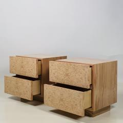 Design Fr res Pair of Minimalist Amboine Burl Wood Nightstands by Design Fr res - 1541966