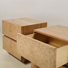 Design Fr res Pair of Minimalist Amboine Burl Wood Nightstands by Design Fr res - 1541967