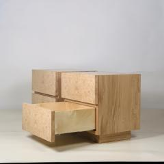 Design Fr res Pair of Minimalist Amboine Burl Wood Nightstands by Design Fr res - 1541972