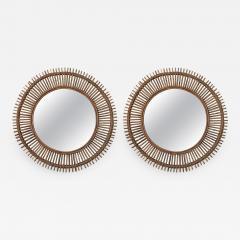 Design Fr res Pair of Oculus Round Rattan Convex Mirrors - 1062213