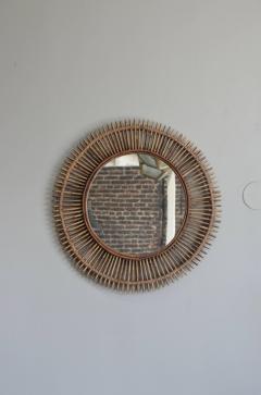 Design Fr res Pair of Oculus Round Rattan Mirrors - 1062089