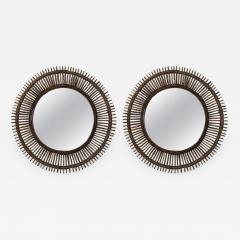 Design Fr res Pair of Oculus Round Rattan Mirrors - 1062212